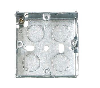 Contactum Silver Steel Back Box, BS Standard, Flush Mount, 1 Gangs