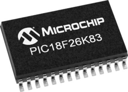 Microchip PIC18F26K83-I/ML, 8bit 8 bit CPU Microcontroller, 64MHz, 64 kB Flash, 28-Pin QFN