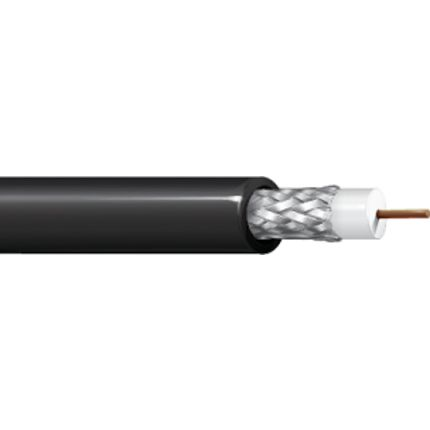 Belden Black RG58 Coaxial Cable 52 Ω 4.826mm OD Polyvinyl Chloride PVC Sheath