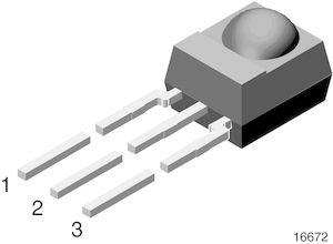 Vishay TSOP14438, 38kHz IR Receiver ±45 °, 30m Range, 2.5 V - 5.5V, Through Hole, 6 x 5.6 x 6.95mm