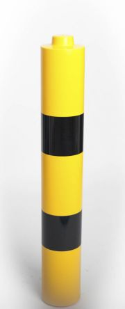 Addgards Black, Yellow Barriers & Stanchion for use with Steel Bollard, 183 Dia. x 1200mm