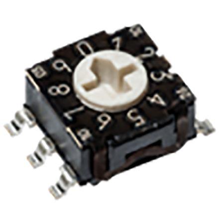 C & K RTE, 16 Position, Hexadecimal Rotary Switch, 100 mA, Through Hole