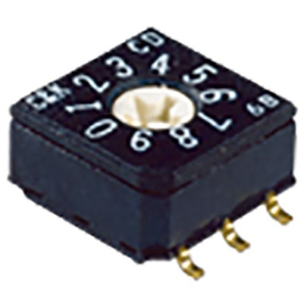 C & K CD, 10 Position, BCD Rotary Switch, PC Pin