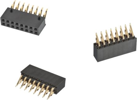 Wurth Elektronik WR-PHD Series 6101 Series Number 2 54mm Pitch 16 Way 2 Row  Right Angle PCB Socket, Through Hole, SMT