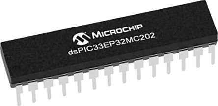 DSPIC33EP32MC202-I/SP Microchip DSPIC, 16bit Digital Signal Processor 60MHz 32 kB Flash 28-Pin SPDIP