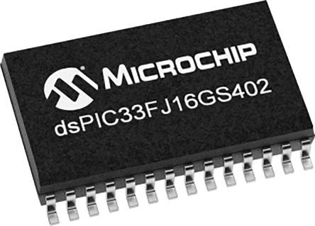 DSPIC33FJ16GS402-I/SO Microchip DSPIC, 16bit Digital Signal Processor 40MHz 16 kB Flash 28-Pin SOIC