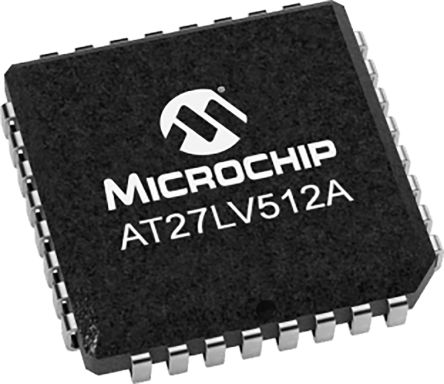 Microchip AT27LV512A-90JU, EPROM 512kbit 64K x 8 bit 90ns 32-Pin PLCC
