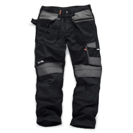 3D Trade Black Hi-Vis Men's Fabric Trousers Imperial Waist 34inMetric Waist-88cm product photo