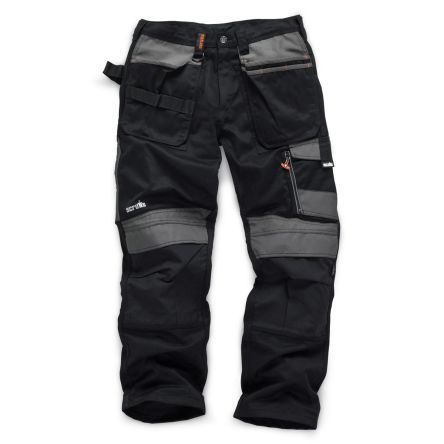 3D Trade Black Hi-Vis Men's Fabric Trousers Imperial Waist 32inMetric Waist-82cm product photo