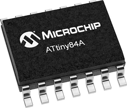 Microchip ATTINY84A-SSUR, 8bit AVR Microcontroller, ATTINY, 20MHz, 8 kB Flash, 14-Pin SOIC
