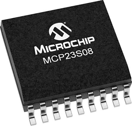 Microchip MCP23S08T-E/SO, 8-Channel I/O Expander 10MHz, SPI, 18-Pin SOIC