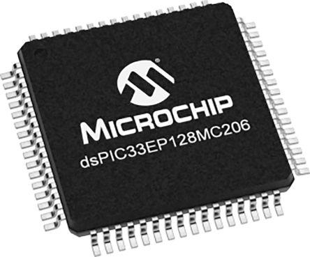 DSPIC33EP128MC206-I/PT Microchip DSPIC33EP128MC206, 16bit Digital Signal Processor 70MHz 128 kB Flash 64-Pin TQFP