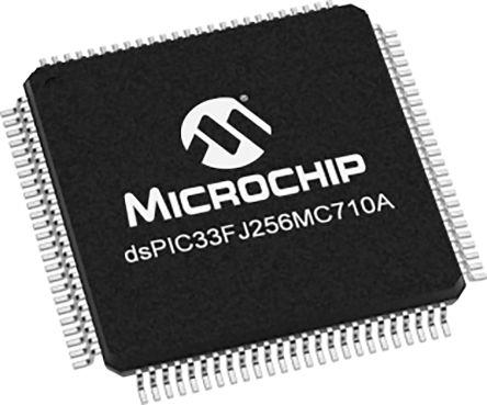 DSPIC33FJ256MC710A-H/PF Microchip DSPIC33FJ256MC710A, 16bit Digital Signal Processor 40MHz 256 kB Flash 100-Pin TQFP