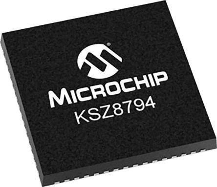 Microchip KSZ8794CNXCC Ethernet Switch IC, 10/100Mbit/s 3.3 V, 64-Pin QFN