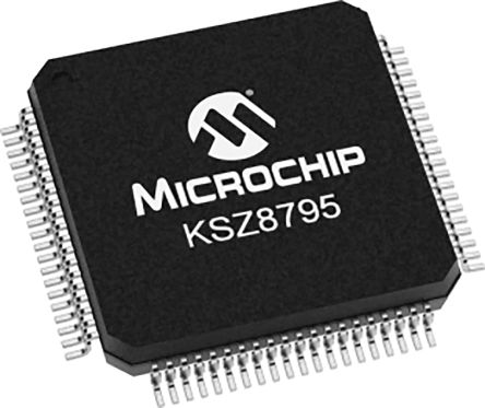 Microchip KSZ8795CLXIC Ethernet Switch IC, 10/100Mbit/s 3.3 V, 80-Pin LQFP