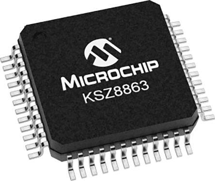 Microchip KSZ8863FLLI Ethernet Switch IC, 10/100Mbit/s 3.3 V, 48-Pin LQFP