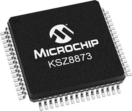 Microchip KSZ8873MLLI Ethernet Switch IC, MII, 10/100Mbit/s 3.3 V, 64-Pin LQFP
