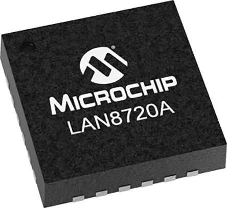 Microchip LAN8720A-CP Ethernet Transceiver, 100BASE-TX, 10BASE-T, IEEE 802.3, IEEE 802.3u, ISO 802-3, 100Mbit/s 3.3 V,