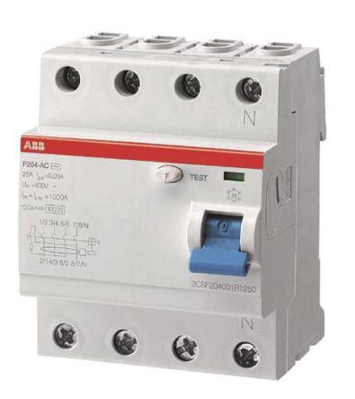 ABB 4 Pole Type A Residential RCCBs, 63A F200, 100mA