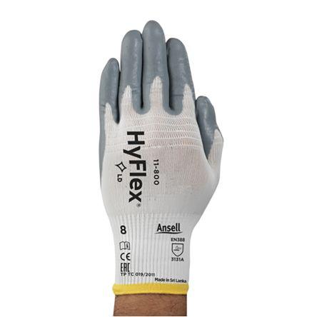 Ansell HyFlex Eldivenler, Nitril Kaplama, 6, Gri, Beyaz