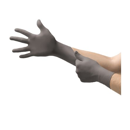 Ansell Grey Nitrile Gloves size 6.5 - S Powder-Free x 100