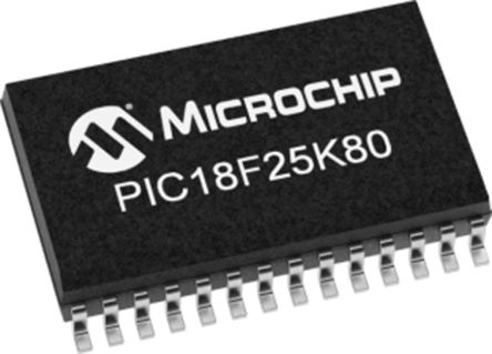 Microchip PIC18F25K80T-I/MM, 8bit PIC Microcontroller, PIC18F, 64MHz, 32 kB Flash, 28-Pin QFN