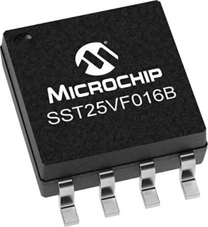 Microchip SST25VF016B-50-4I-S2AF-T 16Mbit Flash Memory Chip, 8-Pin SOIC