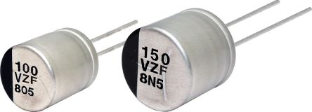 270µF 25V dc Aluminium Polymer Capacitor, Through Hole 10 Dia. x 9.5mm +150°C 10mm 5mm product photo