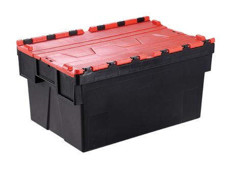 56L Red PP Attached Lid Container, 600mm x 400mm x 310mm product photo
