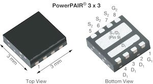 Dual N-Channel MOSFET, 30 A, 30 V, 8-Pin PowerPAIR 3 x 3 Vishay Siliconix SiZ350DT-T1-GE3