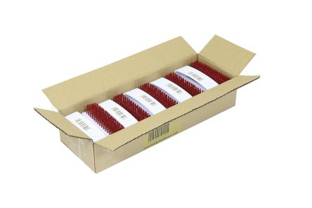 Pack of 10 Red Bristle Hygiene Nail Brus
