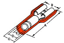 Molex Avikrimp Series Red Insulated Crimp Receptacle, 6.35 x 0.81mm, 22AWG to 18AWG, Tin Plated 19002