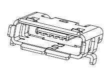 Molex Micro-AB USB 2.0 2.0 Micro USB Connector Receptacle, Right Angle - 47589