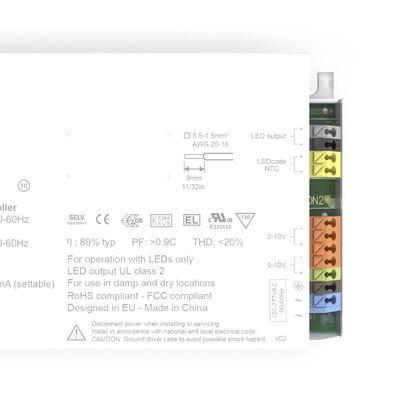 eldoLED EC0561S3, Constant Current 0-10 V LED Driver 50 W 2 → 55 V 150 → 1400 mA, ECOdrive Series