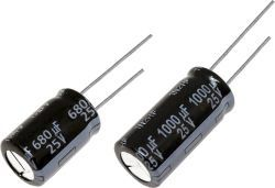 Panasonic Aluminium Electrolytic Capacitor 1500μF 25V dc 12.5mm FP Series Aluminium Electrolytic, Through Hole