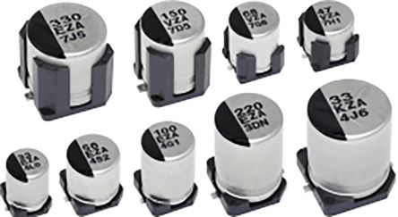 Panasonic Hybrid Conductive Polymer Aluminium Capacitor 270μF 35V dc 10mm Solder ZA Series, Surface Mount Electrolytic
