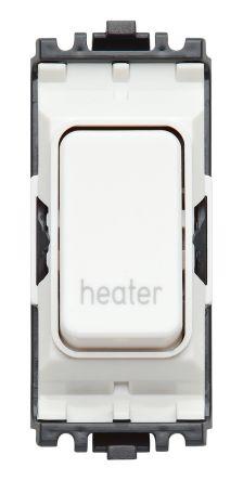 20 A Rocker IP44 Emergency Heating Switch, 1 Way Screwed White, 1 Gang, 250 V ac IP2XD Polycarbonate 1, MK Captive Screw