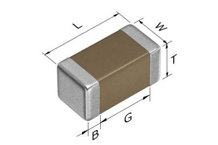 TDK CGA1A2X7R1E222K030BA 2.2nF Multilayer Ceramic Capacitor MLCC 25V dc ±10% Tolerance SMD