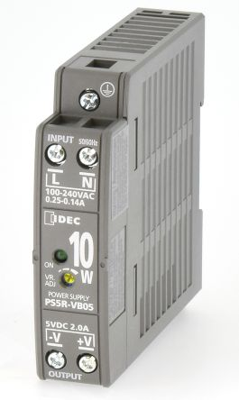 Idec, PS5R DIN Rail Panel Mount Power Supply, 5V dc Output Voltage, 2A Output Current