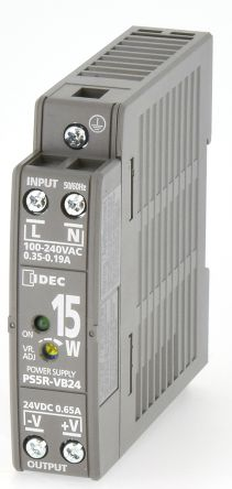 Idec DIN Rail Panel Mount Power Supply - 85 → 264V ac Input Voltage, 24V dc Output Voltage, 650mA Output Current