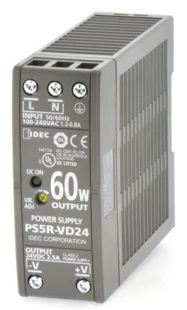 Idec, PS5R DIN Rail Panel Mount Power Supply, 24V dc Output Voltage, 2.5A Output Current