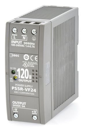 Idec, PS5R DIN Rail Panel Mount Power Supply, 24V dc Output Voltage, 5A Output Current