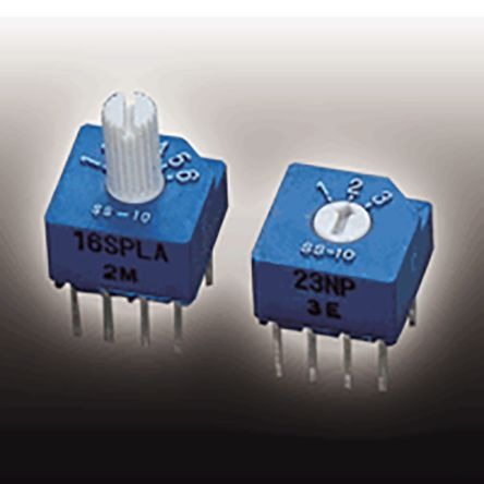 Copal Electronics S-2050, 4 Position SP4T Rotary Switch, 100 mA, Solder