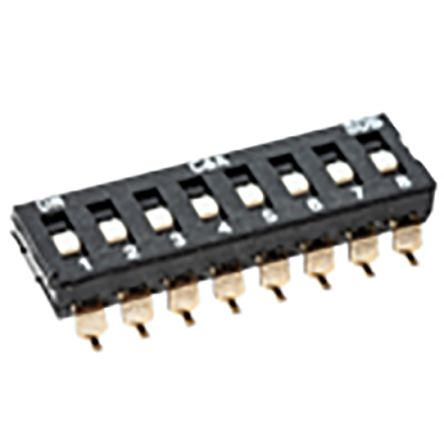 8 Way Surface Mount DIP Switch 8P8T, Extended Slide Actuator product photo