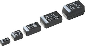 Vishay Tantalum Capacitor 4.7μF 25V dc Tantalum Solid ±10% Tolerance 293D Series