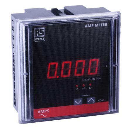 RS PRO Digital Panel Ammeter, Digital Display 4-Digits Class 1.0, 90 x 90 x 55 mm