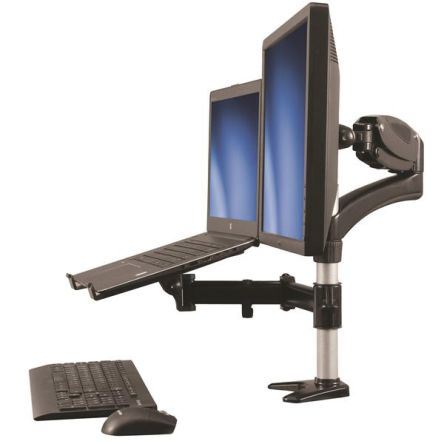 Startech Monitor Arm with Laptop Stand, Max 27in Monitor With Extension Arm