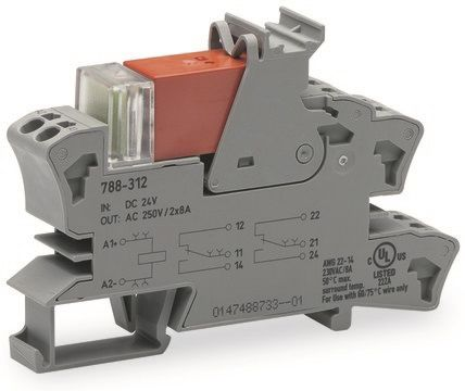 Wago 788 Series , 12V dc DPDT Relay Socket, Cage Clamp Terminal , DIN Rail