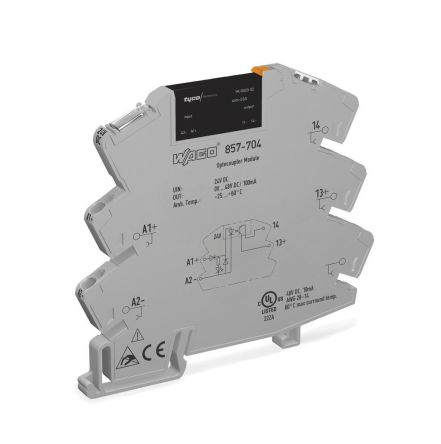 Wago 0.1 A Solid State Relay 3 Phase, DC, DIN Rail, Transistor/Triac, 48 V dc Maximum Load