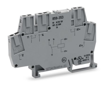Wago 859 Series , 24V ac/dc SPDT Interface Relay Module, Cage Clamp Terminal , DIN Rail